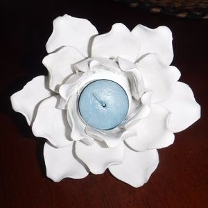White Enameled Candle Holder   6 Inches across